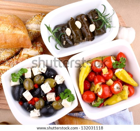 Mediterranean antipasto with ciabatta, close up