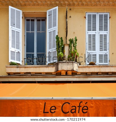 Mediterranean cafe window. Urban scene. - stock photo
