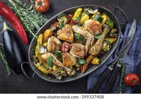 Mediterranean Chicken with Vegetable - stock photo