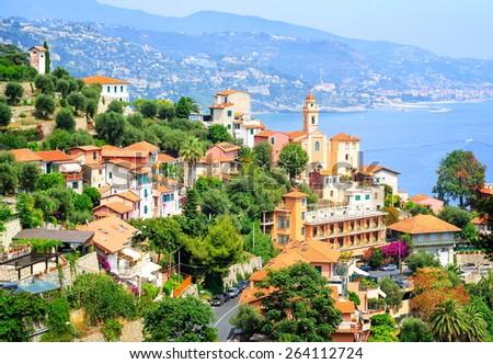 Mediterranean coast at French Riviera, France - stock photo