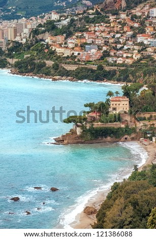 Mediterranean coast by Monaco, Cote d'Azur, Provence, french Riviera - stock photo