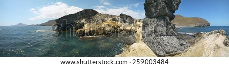 Mediterranean coastline and beach panoramic view in Almeria. Andalusia, Spain - stock photo