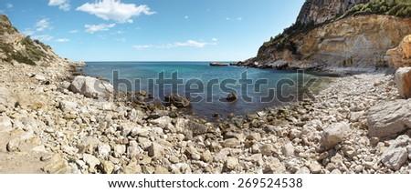 Mediterranean coastline landscape panoramic view in Alicante, Spain. Horizontal - stock photo
