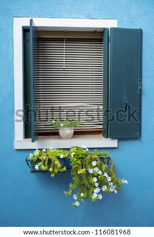 Mediterranean colorful window - stock photo