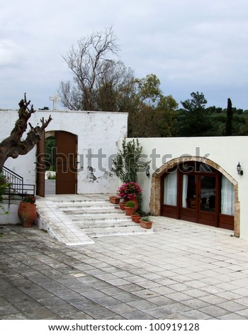 Mediterranean Courtyard at Monastery - stock photo