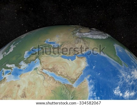 Mediterranean 3D Render. Elements of this image furnished by NASA