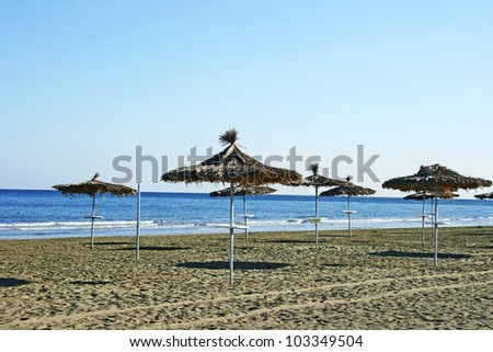 Mediterranean empty beach in autumn, Cyprus. - stock photo