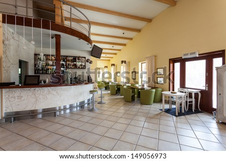 Mediterranean interior - an elegant cafe with a bar