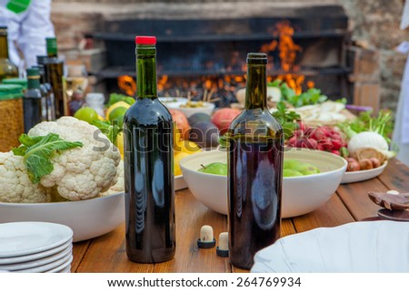 Mediterranean kitchen and cooking ingredients and red wine - stock photo