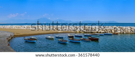 Mediterranean landscape\seascape bay with moored boats. Naples. The province of Campania. Italy.  - stock photo
