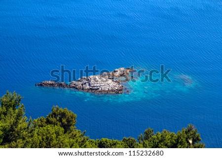 Mediterranean landscape - small islets of coastal waters  island Mljet near Dubrovnik, Croatia - stock photo