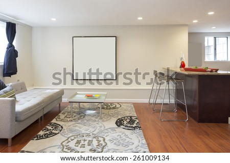 Mediterranean Living room with bar chairs, rug, table and copy space. - stock photo