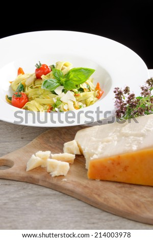 Mediterranean pasta with vegetables and cheese