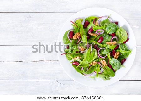 Mediterranean red beans salad with mix of lettuce leaves and walnuts on a white dish on a wood table with blank space left, italian style, close-up - stock photo