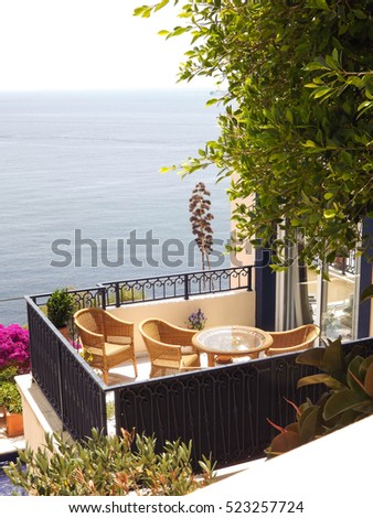 mediterranean residence by the sea, luxury view from lovely balcony