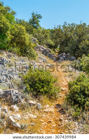 Mediterranean rocky landscape with stone wall fences and a red earth footpath through the bushes and trees on a hot sunny summer day - stock photo