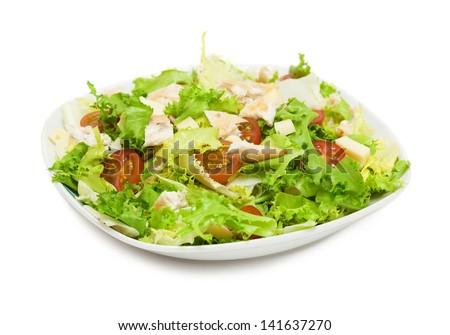 mediterranean salad isolated on white background - stock photo