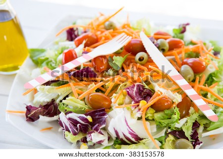 Mediterranean salad with fresh and healthy ingredients
