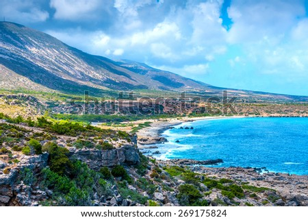 Mediterranean Sea And Rocky Coast Of Crete, Greece - stock photo