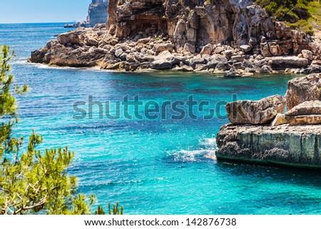 Mediterranean sea and rocky coast of Spain Mallorca island - stock photo