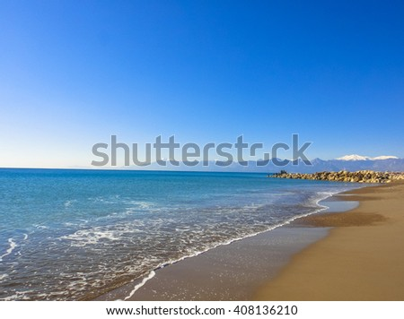 Mediterranean sea beach and waves in Turkey. South of Asia Minor