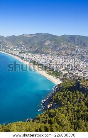 Mediterranean Sea - Beach in Alanya - stock photo