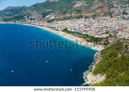 Mediterranean Sea Cleopatra beach in Alanya, Turkey - stock photo