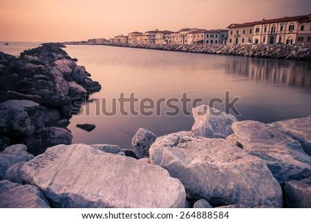 Mediterranean Sea Coast line near Pisa, Italy - stock photo
