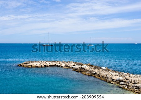 Mediterranean Sea from the Old Town of Antibes, Cote d'Azur, France. Antibes was founded as a 5th-century BC Greek colony and was called Antipolis