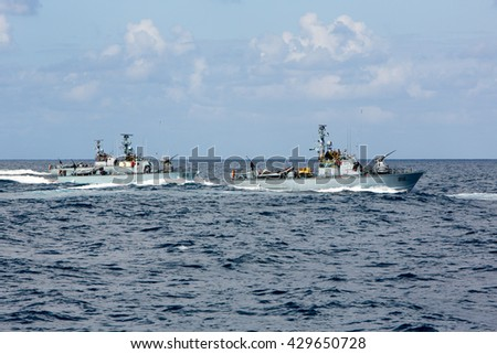 Mediterranean Sea, Israel - March 2, 2015: Soldiers from the Israel Defense Forces' Navy train on the Mediterranean Sea. Here, a group of Dvora-class patrol boats practice formations in open water.