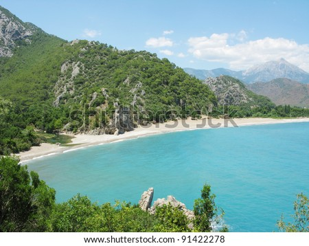 Mediterranean sea landscape panorama view of coast and mountains - stock photo