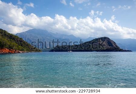 mediterranean sea landscape view of coast  - stock photo