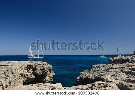 Mediterranean Sea Scene. Magnificent white yach - stock photo