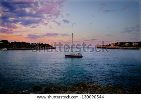 Mediterranean Sea Scene. Magnificent white yacht - stock photo