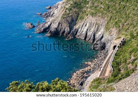 Mediterranean sea summer coast with railroad - stock photo