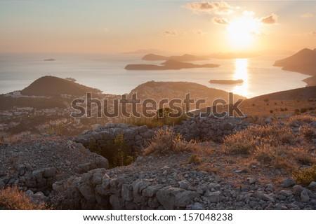 Mediterranean Sea Sunset. Near Dubrovnik, Croatia  - stock photo