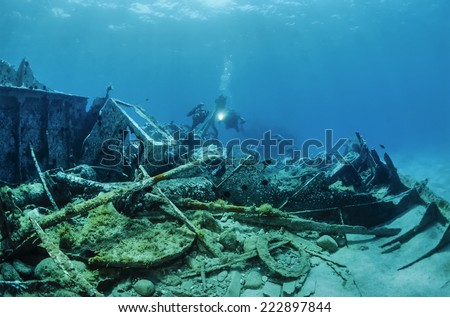 Mediterranean Sea, U.W. photo, wreck diving, sunken ship wreck - FILM SCAN - stock photo