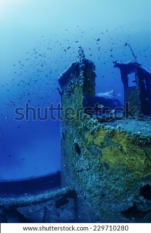 Mediterranean Sea, U.W. photo, wreck diving, Tunisia, La Galite Islands, sunken russian ship wreck - FILM SCAN - stock photo