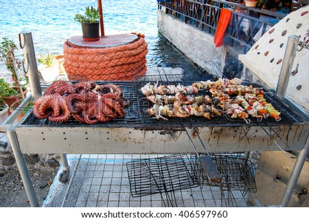 Mediterranean seafood barbeque - stock photo