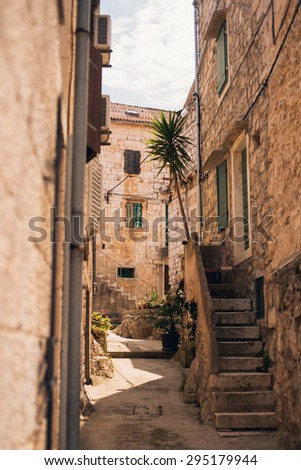 Mediterranean street in city of Vis, Croatia - stock photo