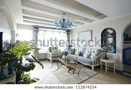 Mediterranean-style living room - stock photo