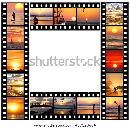 Mediterranean sunsets.Sports and Recreation.Holidays on nature.Seasons.Vacation theme. Film strips frame abstract.  White copy space inside the frame. - stock photo