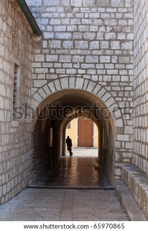 Mediterranean town gateway - stock photo