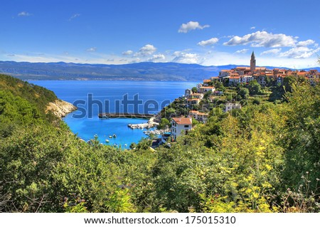 Mediterranean town of Vrbnik, Island of Krk, Croatia - town in northern Adriatic sea located on the high rock, known by the quality wine - vrbnicka zlahtina - stock photo