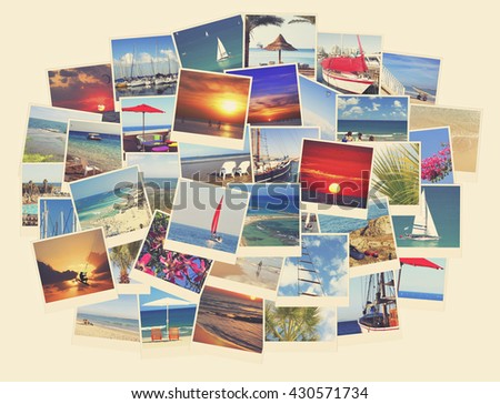 Mediterranean vacation photo collage. Travel and vacation vintage photos of Israel Mediterranean. Toned colors vintage image  - stock photo