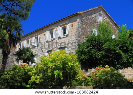Mediterranean vegetation in front of traditional stone building - stock photo