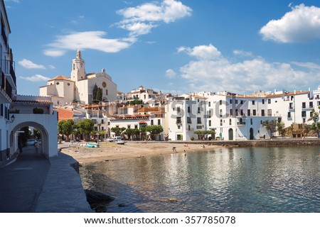 Mediterranean village of Cadaques, Catalonia, Costa Brava, Spain - stock photo
