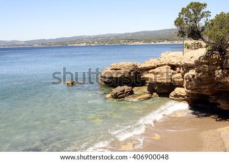 Mediterranee sea landscape  and beach and trees near bandol, France - stock photo