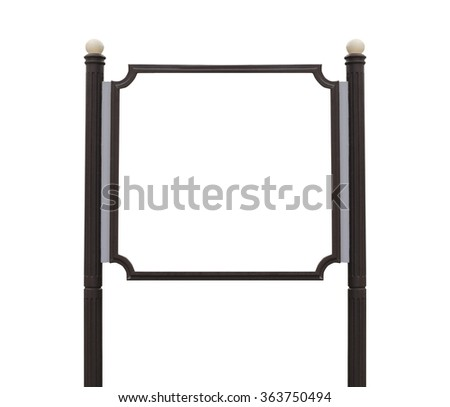 Medium Billboard wooden sign post isolated white background.