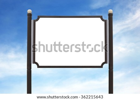 Medium Billboard wooden sign post outdoor on the sky background.
